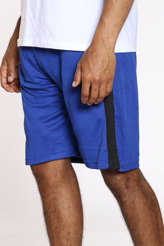 Men's Side Stripe Basketball Short - Royal Black-VIM.COM