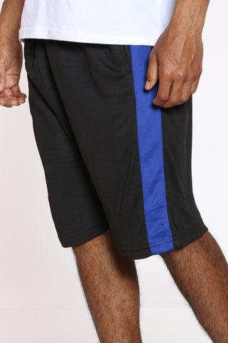 Men's Side Stripe Basketball Short - Black Royal-VIM.COM
