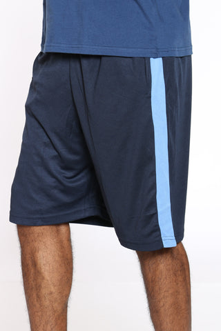 Men's Side Stripe Basketball Short - Navy Sky Blue-VIM.COM