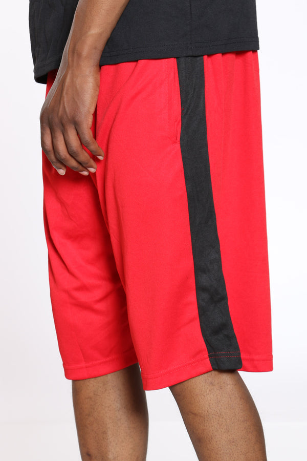Men's Side Stripe Basketball Short - Red Black