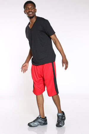 Men's Side Stripe Basketball Short - Red Black-VIM.COM