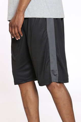 Men's Side Stripe Basketball Short - Black Charcoal-VIM.COM