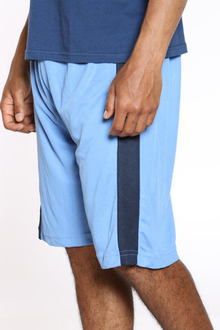 Men's Side Stripe Basketball Short - Sky Blue Navy-VIM.COM