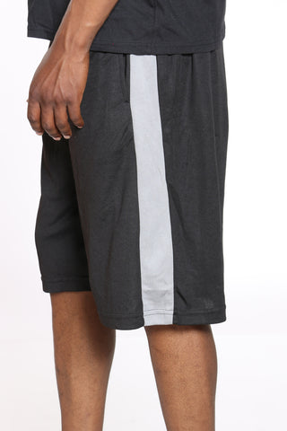 Men's Side Stripe Basketball Short - Black Grey-VIM.COM