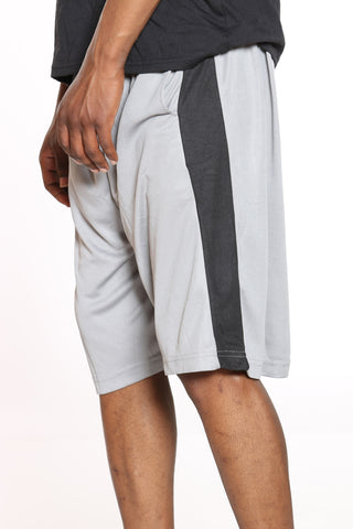 Men's Side Stripe Basketball Short - Grey Black-VIM.COM