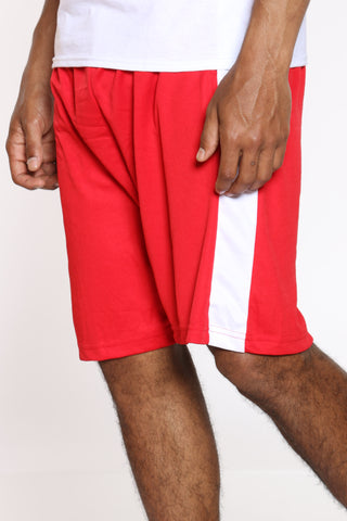 Men's Side Stripe Basketball Short - Red White-VIM.COM