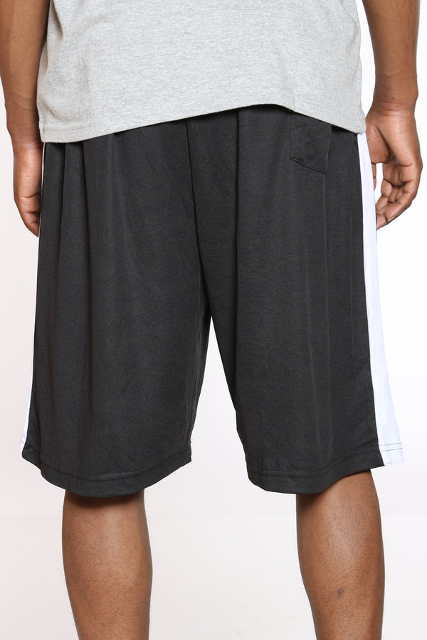 Men's Side Stripe Basketball Short - Black White
