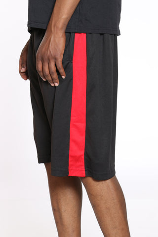 Men's Side Stripe Basketball Short - Black Red-VIM.COM