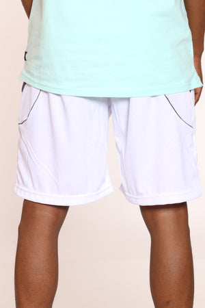 Men's Dri Fit Nylon Piping Short - White Charcoal