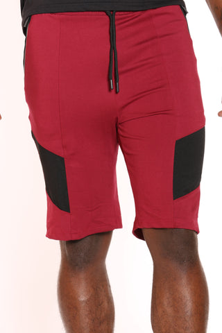 Men's Knitted Moto Short - Burgundy-VIM.COM