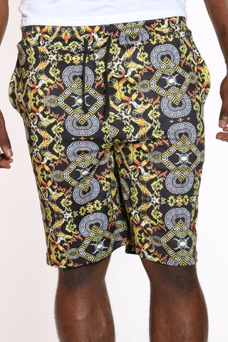 Men's Printed Fleece Short - Black-VIM.COM