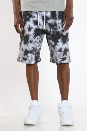 Men's Tie Dye French Terry Short - Black-VIM.COM