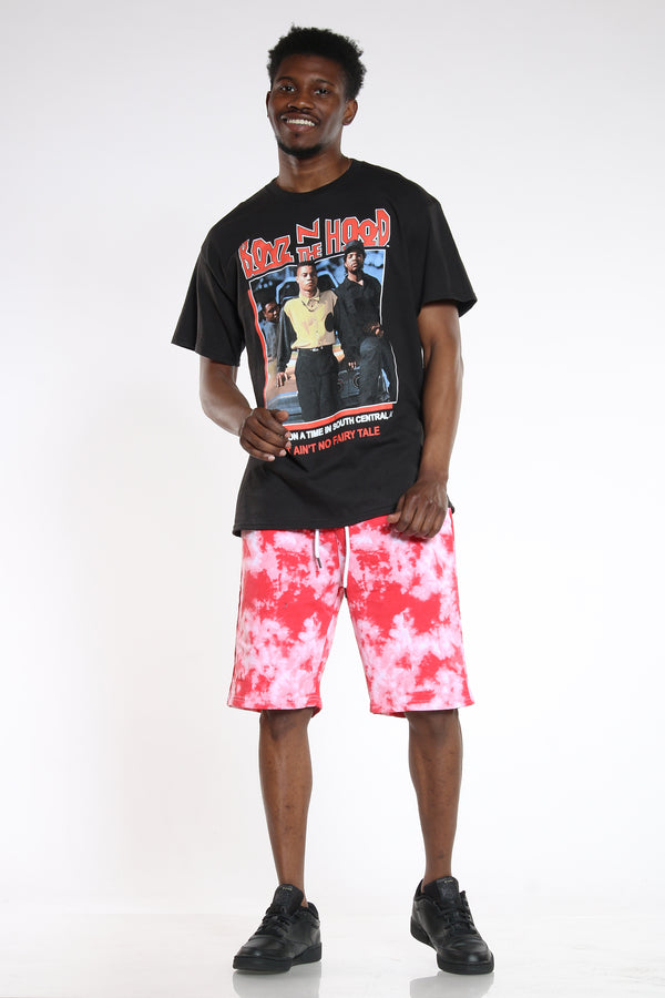 Men's Tie Dye French Terry Short - Red-VIM.COM