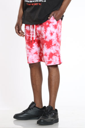 Men's Tie Dye French Terry Short - Red