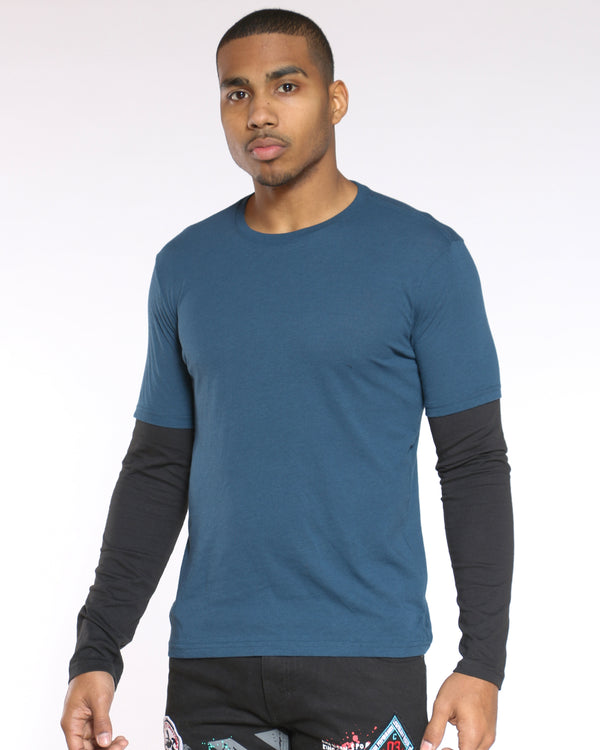 Men's Raglan Tee - Blue Black-VIM.COM