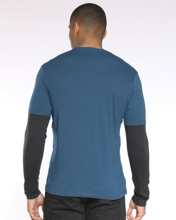 Men's Raglan Tee - Blue Black