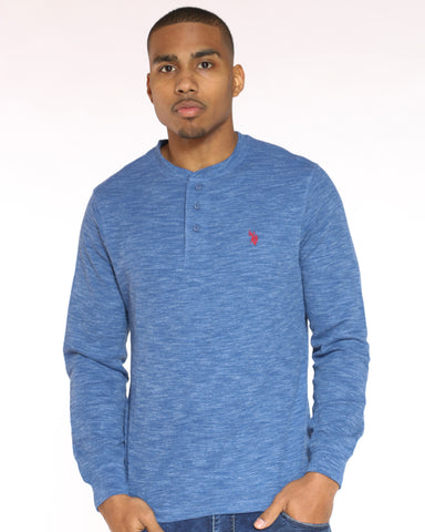 Men's Us Polo Embroidered Chest Thermal Tee - Ceramic Blue