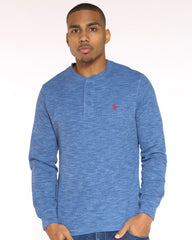 Us Polo Embroidered Chest Thermal Tee - Ceramic Blue