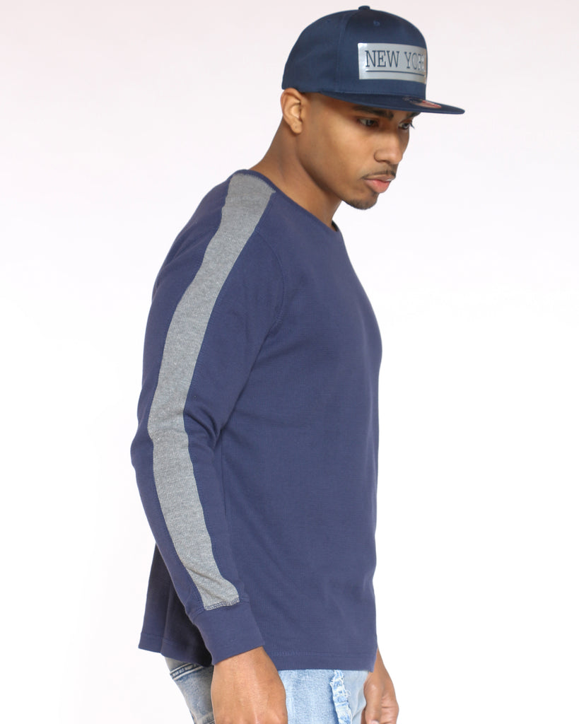 Us Polo Sleeve Thermal Tee - Navy