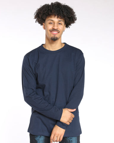 Men's Sly Solid Crew Tee - Navy-VIM.COM