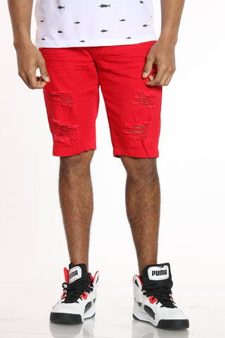 Stay Authentic Ripped Short - Red-VIM.COM