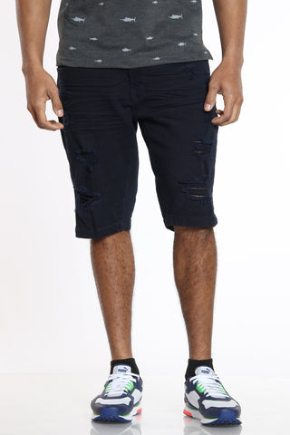 Stay Authentic Ripped Short - Navy-VIM.COM