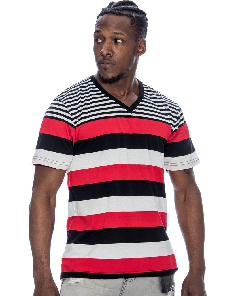 VIM Men'S Striped V-Neck T-Shirt - Vim.com