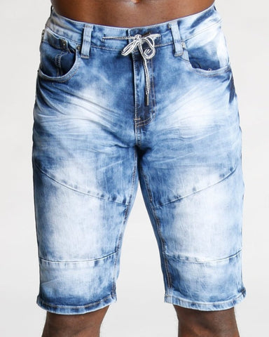 Men'S Knee Pleats Denim Shorts - Light Blue