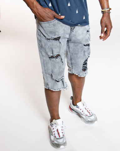 Rips & Front Zips Denim Fray Hem Short