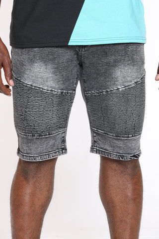 Men's Cut & Sow Moto Denim Short - Grey