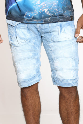 Men's Front Cargo & Ripped Short - Light Blue