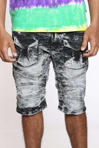 Men's Front Cargo & Ripped Denim Short - Black