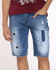 Ripped & Backing Short - Medium Blue