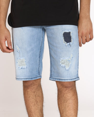 Men's Fred Ripped Blasting Short - Light Blue-VIM.COM