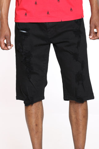 Men's Ripped Denim Short - Black
