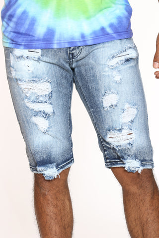 Men's Ripped Denim Short - Dark Wash