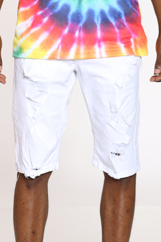 Men's Ripped Denim Short - White
