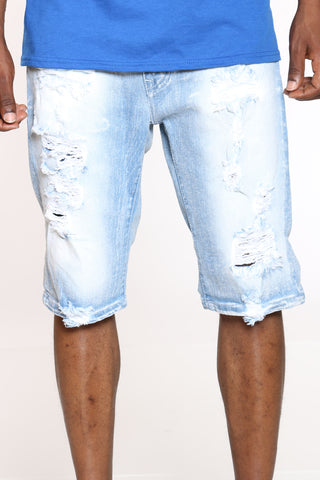 Men's Ripped Denim Short - Light Blue