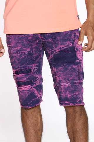 Men's Tie Dye Ripped & Moto Short - Purple