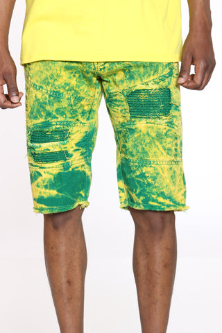 Men's Tie Dye Ripped & Moto Short - Green