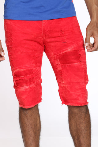 Men's Tie Dye Ripped & Moto Short - Red