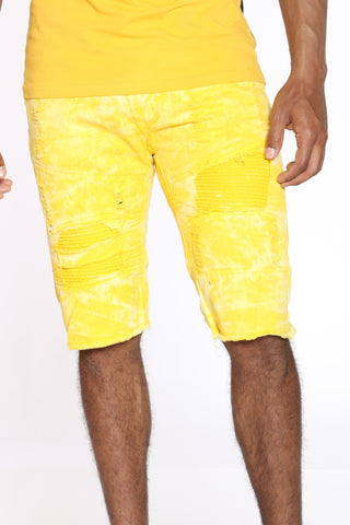 Men's Tie Dye Ripped & Moto Short - Yellow