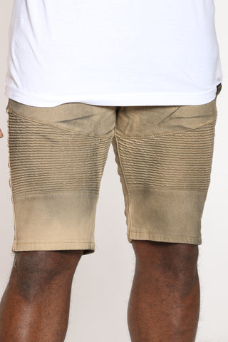 Men's Moto Washed Look Short - Khaki