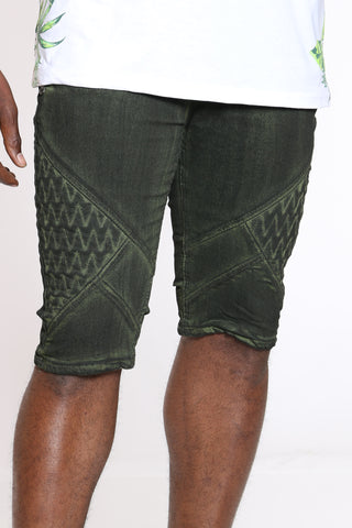 Men's Moto Front Zipped Short - Olive