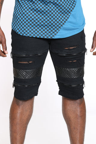 Men's Moto Pu Zipped Short - Black