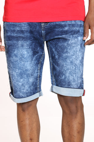 Men's Embroidered Pocket Cuffed Short - Dark Blue
