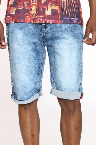 Men's Embroidered Pocket Cuffed Short - Light Blue