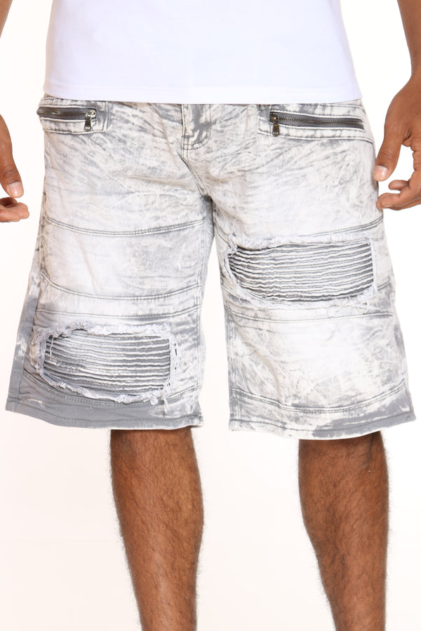 Men's Moto Zipped Short - Grey Acid