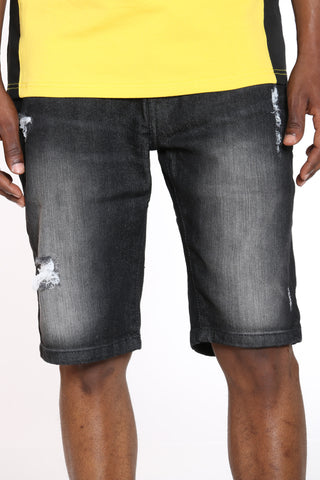 Men's Ripped Denim Short - Black Sand