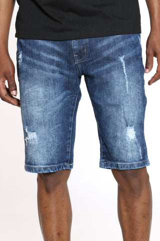 Men's Ripped Denim Short - Dark Blue